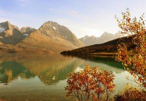 Обои озеро, горы, осень, деревья, листва, пейзаж