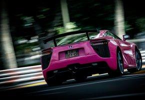 Обои lexus, розовый, сзади, спорткар, спойлер
