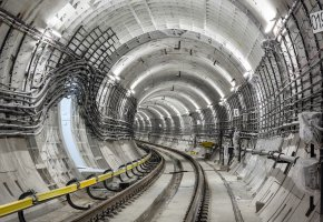 Обои Tunnel, Тоннель, провода, рельсы, бетон, электричество