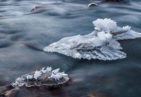 Обои зима, лёд, река, вода, макро