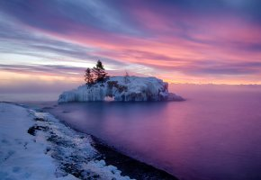 Обои зима, закат, море, снег, деревья, остров
