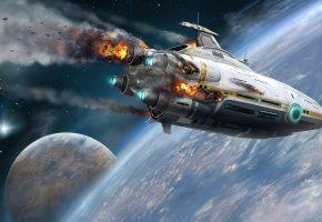 Обои корабль, крушение, планета, космос, Subnautica, Субнатика, Аврора