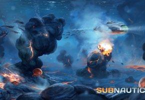 Обои Субнатика, Subnautica, лава, лавовый биом, личинка, Lava, larva