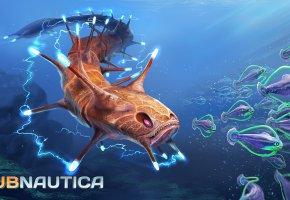 Обои Subnautica, угорь, электрический, игра, Субнатика, Кольцевик, рыбы