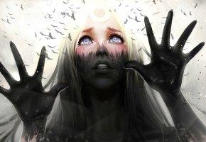Обои взгляд, руки, отражение, арт, деревья, лицо, птицы, девушка, лес
