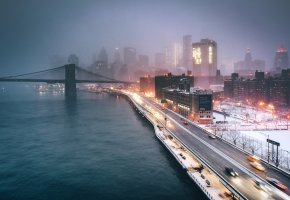 Обои США, Нью Йорк, ночь, вечер, огни, город, туман, мост