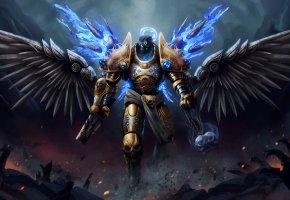 Обои смерть, черепа, крылья, магия, демон, воин, разрушение, тьма, доспехи