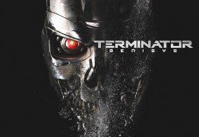Обои Терминатор, Генезис, T-800, Робот, Фэнтези, Кино, Фантастика, глаз, металл