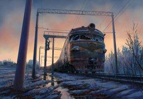 Обои поезд, арт, снег, ж-д, рельсы