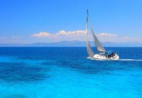 Обои лодка, парус, Океан, вода, волны