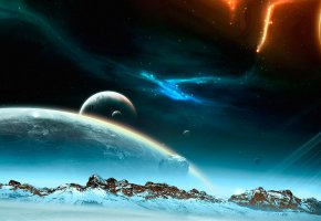 Обои космос, планеты, сияние, вечность, звезды