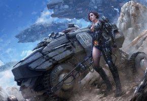 Обои фантастика, девушка, spaceship, киборг, скалы, пушка, вездеход