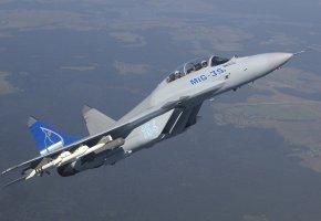 Обои самолет, миг, миг-35, ракеты, полет, пилоты
