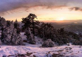 Обои закат, горы, зима, снег, лес, деревья