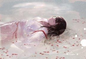 Обои кимоно, вода, Akagi, лепестки, девушка, сон