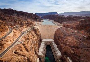Обои США, река, Гранд-Каньон, плотина, горы, каньон