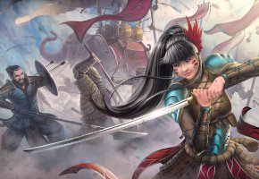 Обои азиат, слон, катана, девушка, меч, копье, битва, воин, стрелы, арт, война
