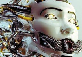 Обои кабели, провода, робот, андроид