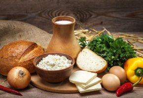 Обои лук, зелень, хлеб, сыр, яйца, продукты, творог, egg, молоко, bread, milk, перец