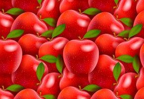 Обои красные, яблоки, плоды, арт