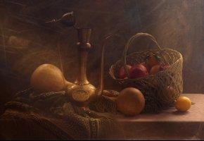 Обои гранат, корзина, тыквы, лимон, натюрморт