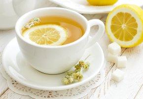 Обои чай, кружка, блюдце, сахар, лимон