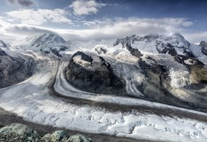 Обои лёд, скалы, ледники, горы, снег