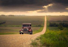 Обои Авто, природа, дорога, автомобиль, ретро
