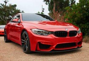 Обои БМВ, BMW, красный, перед, фары