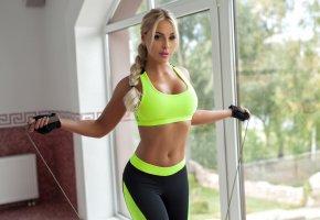 Обои Девушка, Спорт, фигура, блондинка, красивая, тело