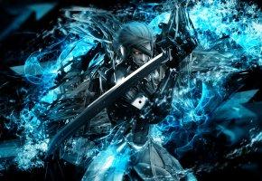 Обои игра, metal gear rising, воин, меч, video game