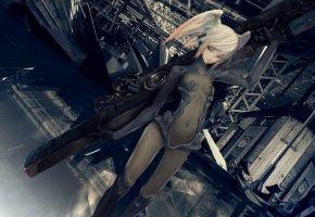 Обои anime, girls, armor, bangs, futuristic, gray, девушка, оружие, косички