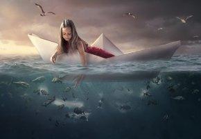 Обои чайки, кораблик, вода, море, птицы, рыбы, девочка