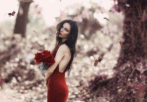 Обои платье, девушка, розы, брюнетка, цветы, фигура, красавица