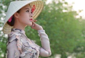Обои девушка, азиатка, взгляд, восток, красотка, шляпа