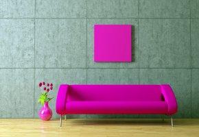 Обои розовый, тюльпаны, комната