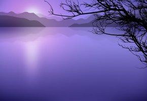 Обои озеро, горы, дерево