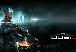 Обои EVE, Dust, 514, weapon, gun, spark, man, солдат, оружие, война