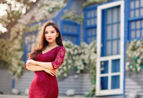 Обои азиатка, платье, красное, девушка, взгляд, макияж, красивая