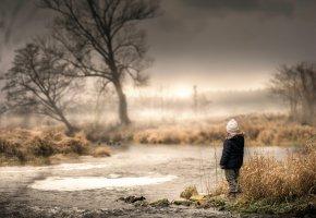 Обои ручей, течение, ребёнок, дерево, вода, сухостой