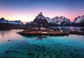 Обои пейзаж, прозрачность, Норвегия, городок, вечер, поселок, Лофотенские острова, утро, горы