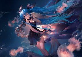 Обои платье, медузы, девушка, art, под водой, Hatsune Miku, волосы, Vocaloid, anime