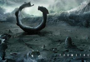 Обои prometheus, долина, дорога, машина, горы, камни, огни, космический корабль, планет