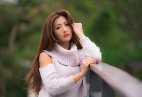 Обои азиатка, волосы, девушка, милая, взгляд, позирует