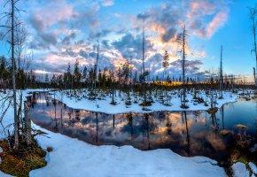 Обои закат, река, болото, сосны, снег