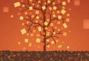 Обои дерево, листья, краски, прямоугольник