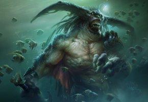 Обои чудовище, монстр, дух, меч, вода, рыбы, арт, водяной