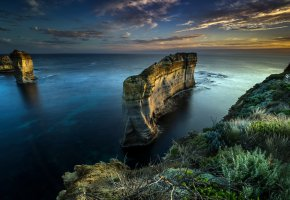 Обои берег, Аustralia, скалы, море, горизонт, высота, небо, облака