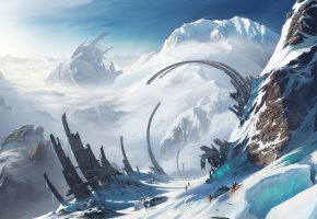 Обои долина, скалы, Romain Lebouleux, ущелье, вершины, руины, путники, люди, снег, горы