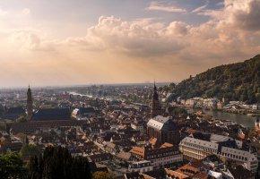 Обои Heidelberg, Германия, дома, панорама, река, облака
